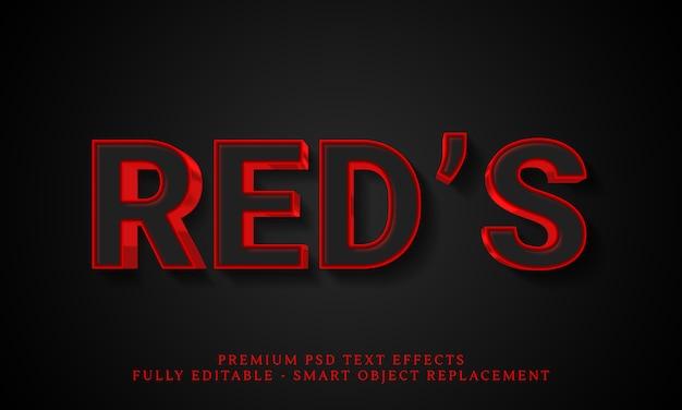 Efeito de estilo de texto vermelho psd, efeitos de texto psd premium