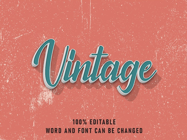 Efeito de estilo de texto vintage cor editável com estilo grunge retrô