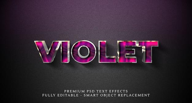 Efeito de estilo de texto violeta psd, efeitos de texto psd premium