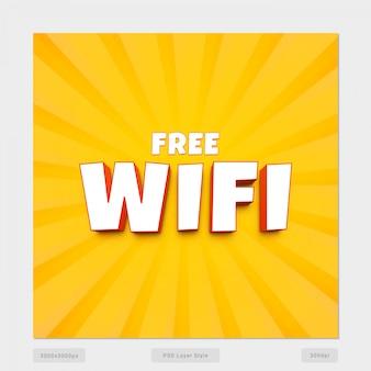 Efeito de estilo de texto wi-fi gratuito 3d psd