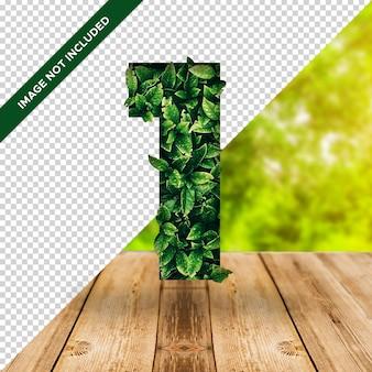 Efeito de folha 3d número 1 com fundo transparente