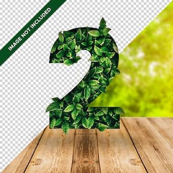 Efeito de folha 3d número 2 com fundo transparente