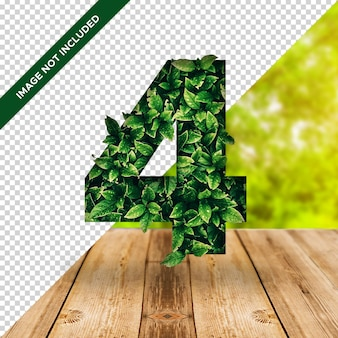 Efeito de folha 3d número 4 com fundo transparente