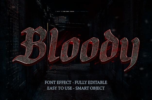 Efeito de fonte 3d de pedra de sangue e efeito de metal