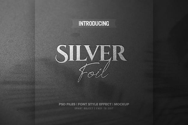 Efeito de fonte premium de folha de prata