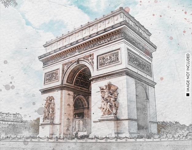 Efeito de foto com pincel de pintura em aquarela