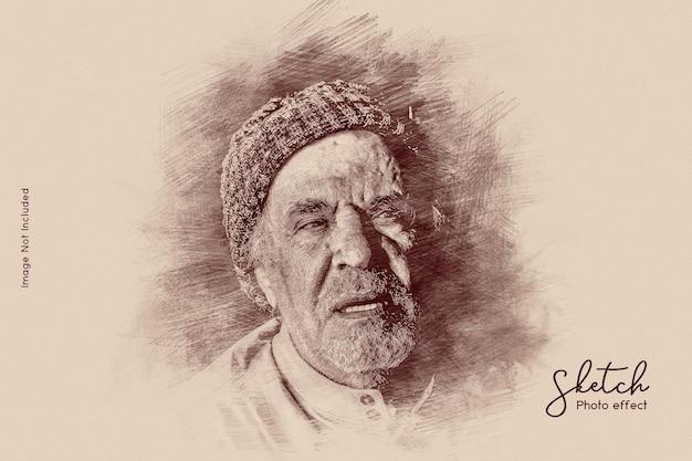 Efeito de foto de desenho a lápis