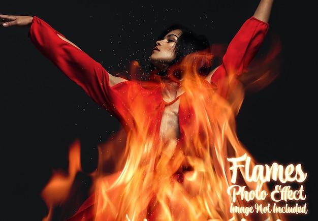Efeito de foto de fogo e chamas