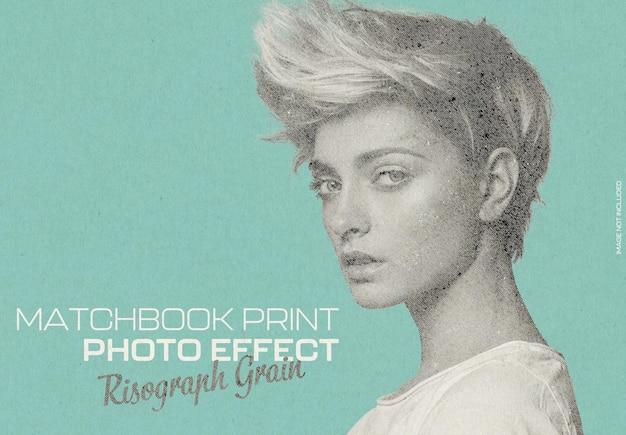 Efeito de foto de impressão de matchbook risograph