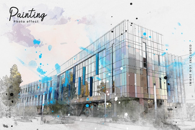 Efeito de foto de pintura de esboço de arquitetura