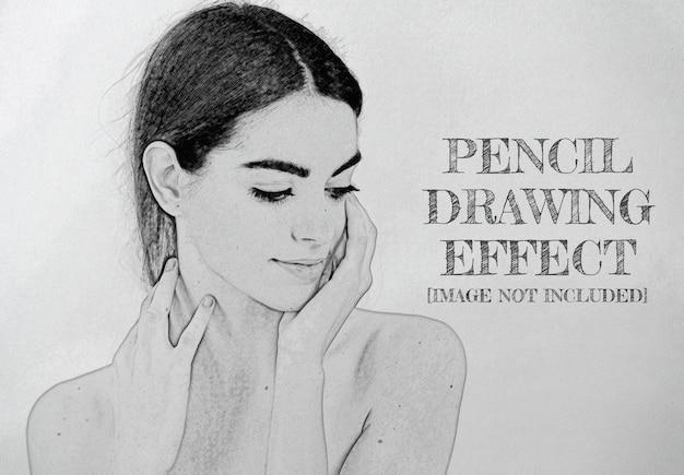 Efeito de foto desenho a lápis mockup