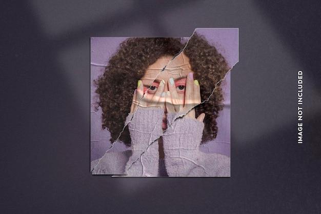 Efeito de foto realista em papel rasgado