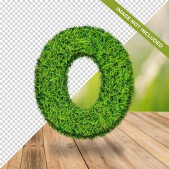 Efeito de grama 3d número 0 com fundo isolado