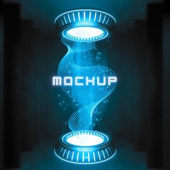 Efeito de logotipo futurista renderizado em 3d