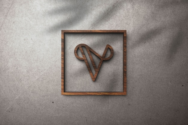 Efeito de madeira de maquete de logotipo 3d em uma parede branca