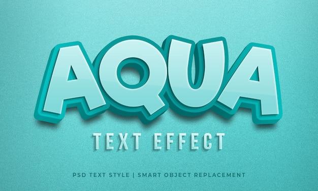 Efeito de psd de estilo de texto 3d editável com cor azul aqua