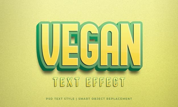 Efeito de psd de estilo de texto editável com maquete de caligrafia de cor verde amarelo vegan