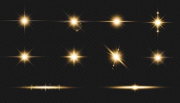 Efeito de reflexo de lente dourada transparente com faixa de luz