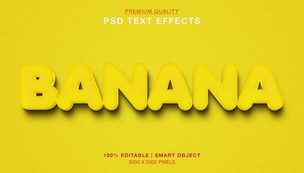 Efeito de texto 3d banana