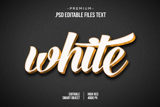 Efeito de texto 3d branco, efeito de estilo de texto branco 3d, efeito de texto dourado branco 3d usando estilos de camada