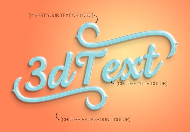 Efeito de texto 3d brilhante colorido mockup