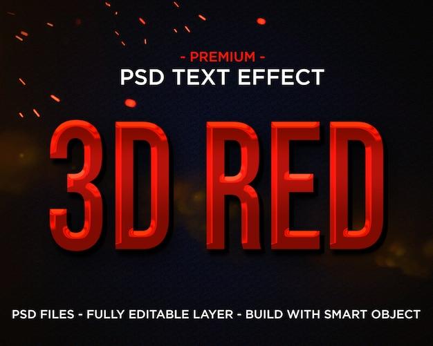 Efeito de texto 3d cinematográfico premium vermelho 3d