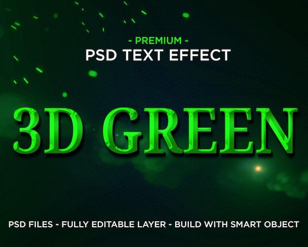 Efeito de texto 3d cinematográfico verde premium 3d