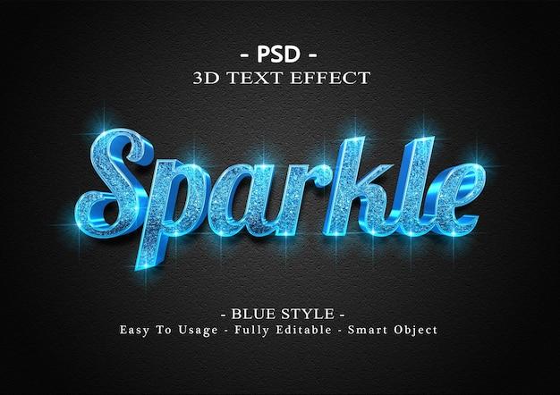 Efeito de texto 3d cintilante azul