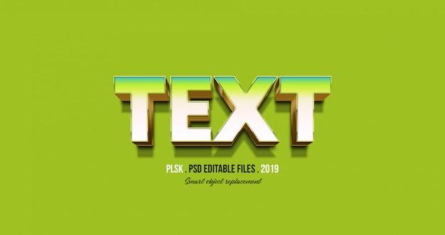 Efeito de texto 3d com fundo verde