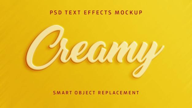Efeito de texto 3d cremoso