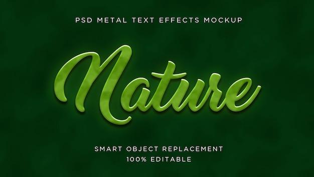 Efeito de texto 3d da natureza