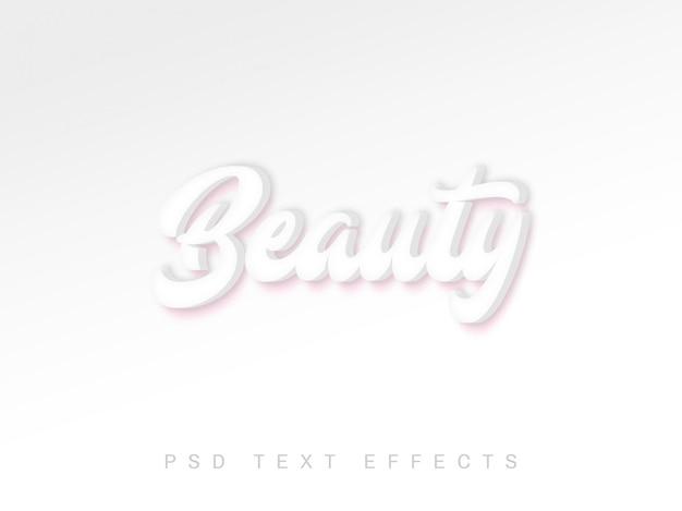 Efeito de texto 3d de beleza psd