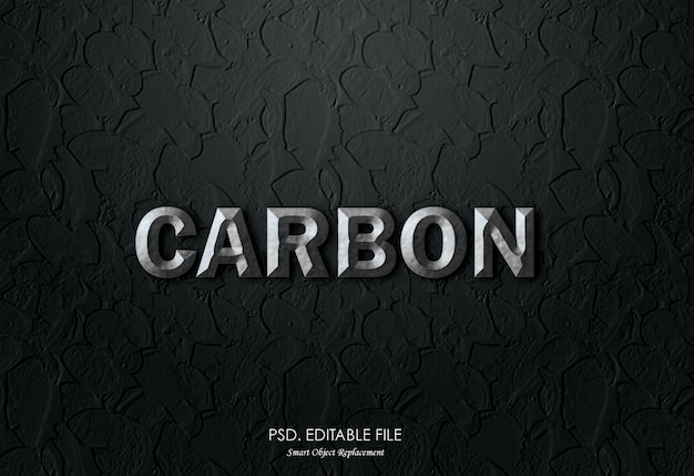 Efeito de texto 3d de carbono metálico