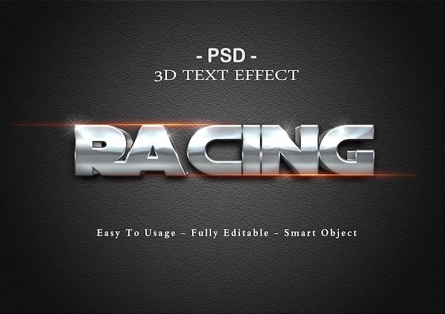 Efeito de texto 3d de corrida