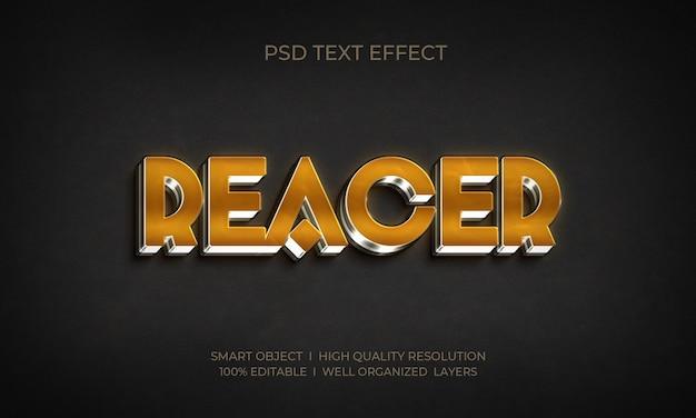 Efeito de texto 3d de estilo metálico