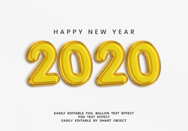 Efeito de texto 3d de folha de ouro 2020 ballon