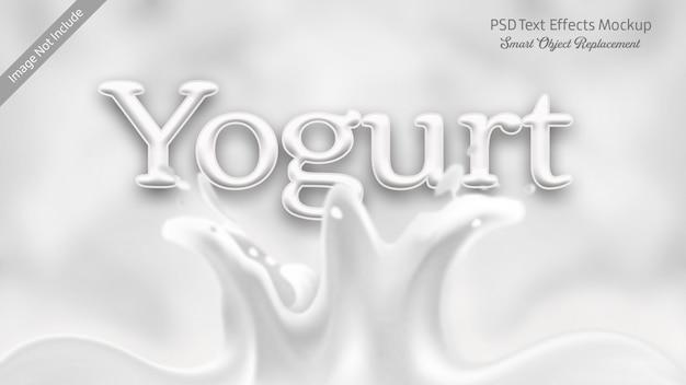 Efeito de texto 3d de iogurte