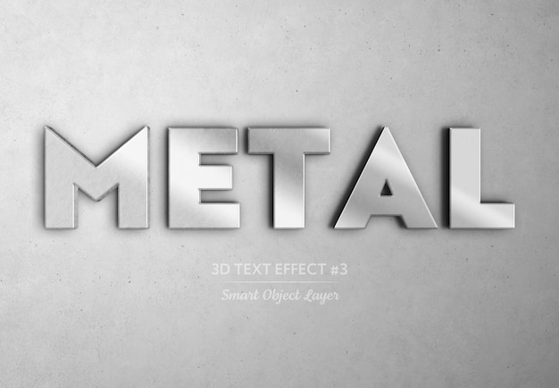 Efeito de texto 3d de metal cromado mockup