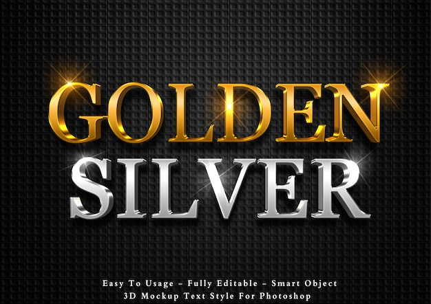 Efeito de texto 3d de ouro e prata