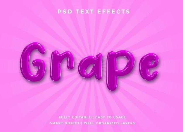Efeito de texto 3d de uva