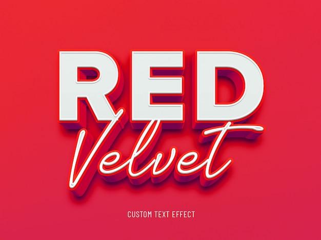 Efeito de texto 3d de veludo vermelho