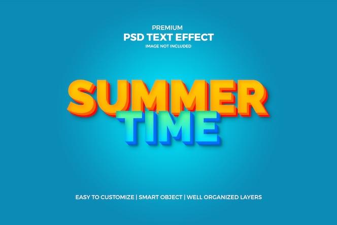 efeito de texto 3d de verão azul e amarelo