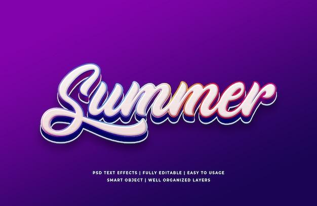 Efeito de texto 3d de verão