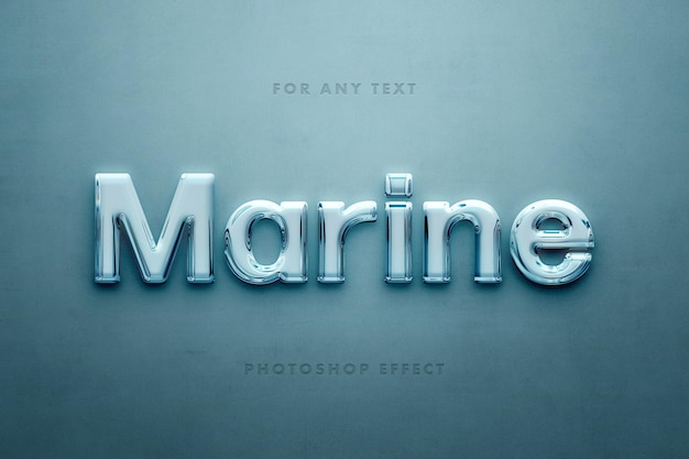 Efeito de texto 3d de vidro marinho