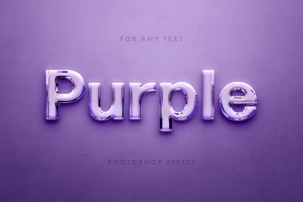 Efeito de texto 3d de vidro roxo