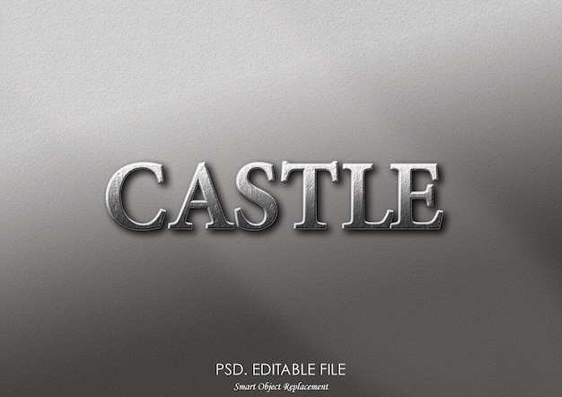 Efeito de texto 3d do castelo