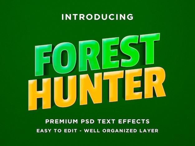 Efeito de texto 3d do estilo de jogo forest hunter
