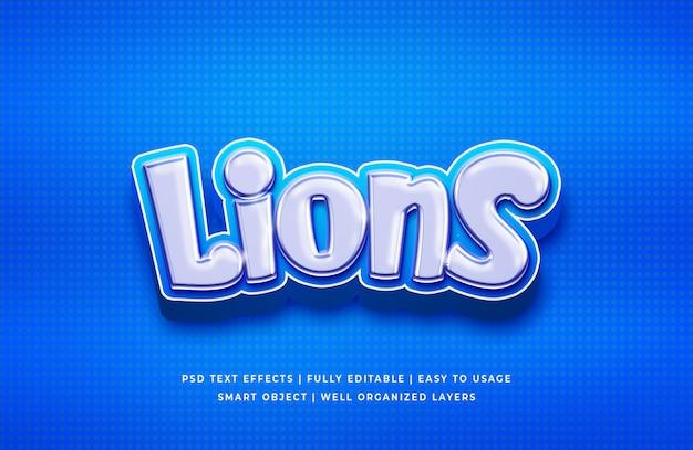 Efeito de texto 3d do lions