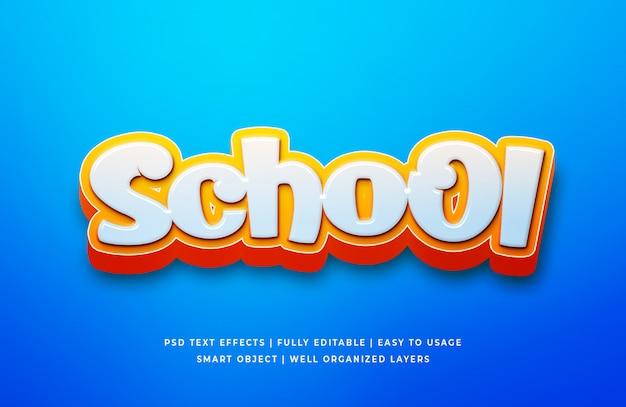Efeito de texto 3d dos desenhos animados da escola