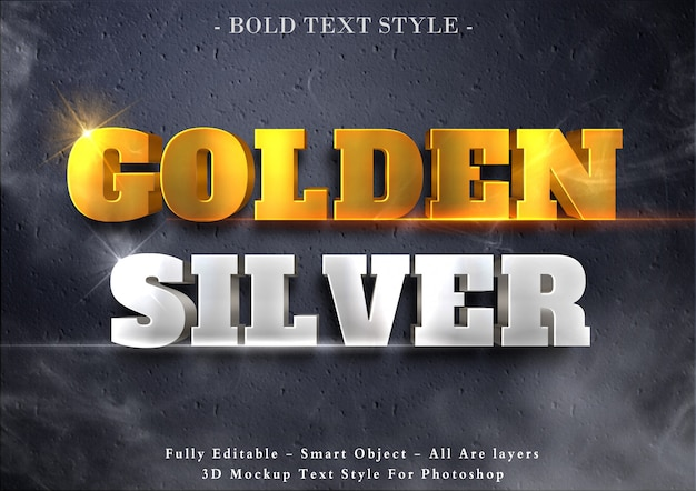 Efeito de texto 3d dourado e prateado
